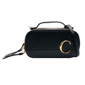【台中米蘭站】全新品 CHLOE C Mini Vanity Bag 牛皮 手提/斜背二用包(黑)