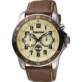 Timberland BELLAMY 都會日曆腕錶-黃x咖啡/46mm TBL.14109JSTBN/06