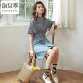 2019春夏新款韓版寬鬆顯瘦高腰a字牛仔背帶裙半身裙短裙女裝裙子