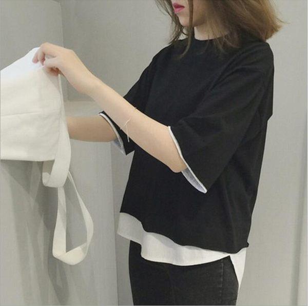 [24H 現貨快出] 韓國夏季個性短袖t恤 寬鬆純色七分袖假兩件韓版學生拼接上衣