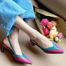 真皮拼色高跟鞋 韓版細跟尖頭鞋 後搭扣OL涼鞋/3色-標準碼-夢想家-0331