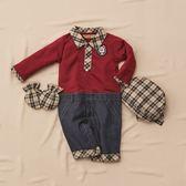 【金安德森】春夏彌月禮盒-格子領假二件長袖連身褲裝-紅色