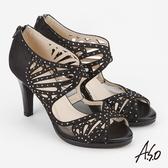 A.S.O 炫麗魅惑  全真皮鏤空弧形高跟魚口鞋 黑
