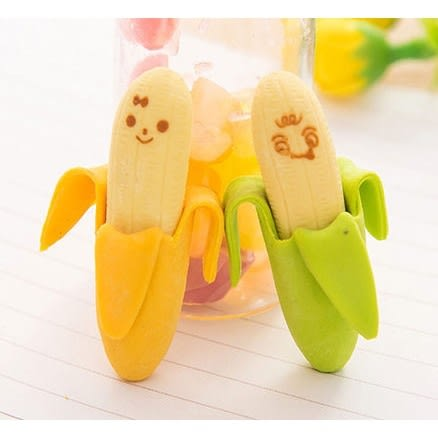 韓國創意文具 / 迷你香蕉 / 剝皮香蕉橡皮擦 兩入裝 (顏色隨機) -MY