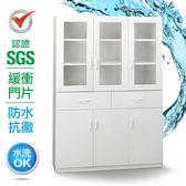 IHouse-SGS 防潮抗蟲蛀緩衝塑鋼加寬六門二抽置物碗盤櫃白色