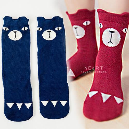 嚴肅小熊立體耳朵中筒襪 童襪 止滑襪 長襪