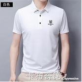 高端桑蠶絲短袖T恤男夏季翻領半袖上衣中青年刺繡POLO衫 卡布奇諾