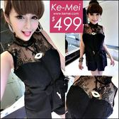 克妹Ke-Mei【ZT50405】浪漫巴里島 奢華歐根紗蕾絲附腰帶西裝連身褲