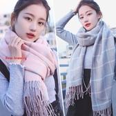 圍巾 女韓版百搭格子加厚保暖披肩兩用圍脖