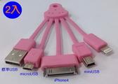 【兩入一組】五爪魚多接頭USB傳輸線~iPhone4 接頭/micro USB/mini USB  智慧型手機傳輸充電