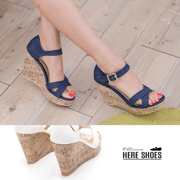 [Here Shoes] 涼拖鞋-MIT台灣製 防水台 交叉楔型高跟10.5cm 涼鞋 2色─KI708