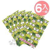 〔小禮堂〕大眼蛙 日製迷你直式紅包袋《6入.綠.大臉》信封袋.禮金袋 4901610-03591