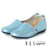 XES 女鞋 樂福鞋  閃耀休閒鞋 大方舒適 個性時尚 平底鞋 藍色