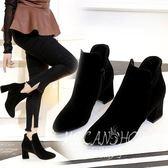 2017新款加絨短靴磨砂女鞋中跟短筒單靴尖頭黑色粗跟女靴子