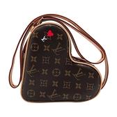 【台中米蘭站】全新品 Louis Vuitton 經典Game On Coeur 帆布愛心造型斜背包(M57456-咖)