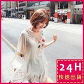 梨卡★現貨 - 韓國甜美波西米亞外搭防曬鉤花針織喇叭袖外衣中長版罩衫上衣C6286