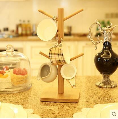 歐式紅酒杯架玻璃水杯馬克杯竹子杯架水杯掛架咖啡杯架 實木杯架