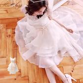 洋裝 圓領鉤花前短後長歐根紗馬甲無袖禮服洋裝-Ruby s 露比午茶