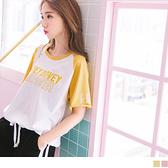 《AB4284》高含棉不收邊剪裁造型印字拼色連袖寬鬆T恤--適 2L~6L OrangeBear