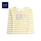 Gap女童 Logo印花長袖圓領T恤 499186-黃色
