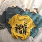 男童短袖 帥氣ins風~男童短袖t恤2021夏季新款童裝洋氣兒童純棉薄半袖打底 歐歐