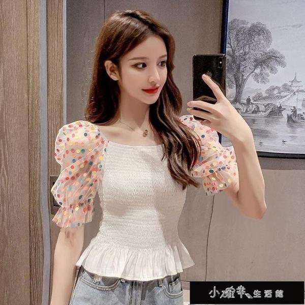 襯衫女夏季女裝2020新款波點泡泡袖方領短袖襯衣收腰顯瘦短款【全館免運】