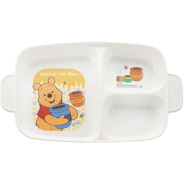 小禮堂 迪士尼 小熊維尼 日本製 方形三格餐盤 (黃蜂蜜款) 4984909-13408