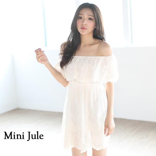 ★現貨★洋裝 甜美蕾絲平口縮腰棉麻洋裝 小豬兒 MiNi Jule 【YTI61000898】