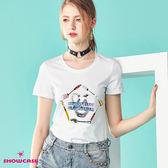【SHOWCASE】休閒圓領餐具印花百搭棉質T恤(白色)