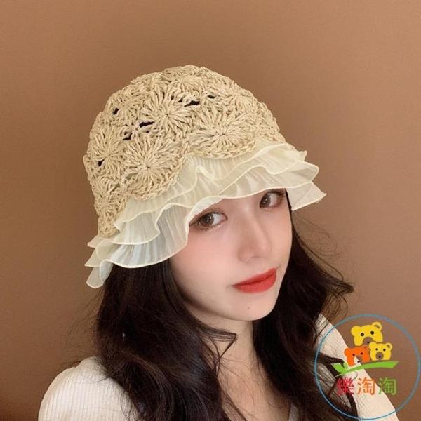 蕾絲草帽女韓版百搭防曬帽遮陽帽水桶帽小檐帽【樂淘淘】