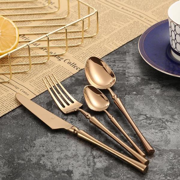 北歐玫瑰金典雅刀叉勺三件套不銹鋼304西餐牛排刀