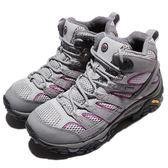 Merrell 戶外鞋 Moab 2 Mid GTX 灰 紫 Vibram 大底 高筒 女鞋 健行 登山鞋 【PUMP306】 ML06068