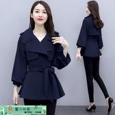 短版外套 小個子風衣女短款年新款秋裝外套韓版寬鬆時尚氣質翻領矮春秋 麗人印象 免運