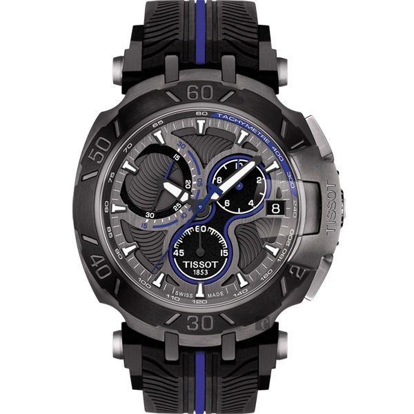 全球限量5000只 TISSOT 天梭 T-RACE MOTOGP 2017限量版賽車錶-黑x藍/45mm T0924173706100