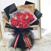 21朵玫瑰花送媽媽禮物老師花束香皂花結婚紀念花手捧鮮花仿真玫瑰 薇薇