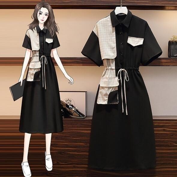 洋裝連身裙中大尺碼L-4XL大碼氣質減齡拼接收腰遮肚顯瘦短袖連身裙4F109-2252.胖妹大碼
