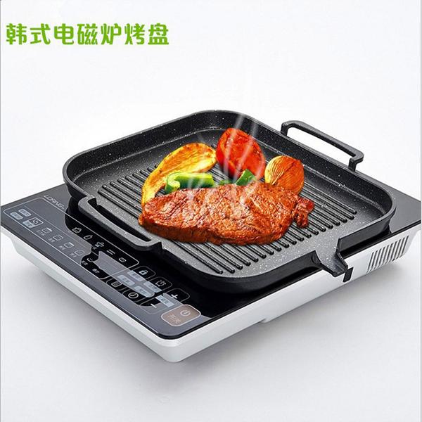 韓式電磁爐烤盤 方形燒烤盤鐵板燒無煙不粘烤肉鍋 【母親節禮物】