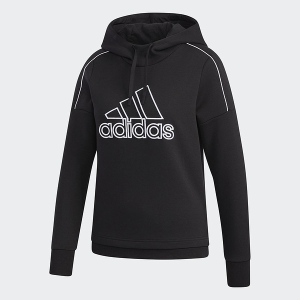 Adidas MUST HAVES 女裝 長袖 連帽 帽T 落肩 高領 刺繡 黑【運動世界】GM1423
