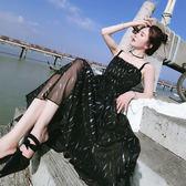 小禮服 洋裝 碎花吊帶裙收腰黑裙晚禮服裙沙灘裙 艾米潮品館
