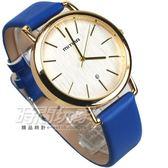 MITINA米提娜 時尚皮革防水腕錶 木紋/布紋/金/男錶/中性錶/女錶/工業風/木頭 M1032金藍