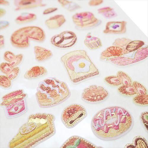 日本製金箔鑲飾仿刺繡系列貼紙(美味麵包)★funbox★KAMIO_KM08498