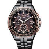 限量款 CITIZEN 星辰 光動能鈦金屬電波錶/手錶-咖啡x黑/43mm AT9096-73E