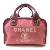 CHANEL 香奈兒 桃粉色Logo銀鏈帆布手提肩背包 Deauville Bowling Bag【BRAND OFF】