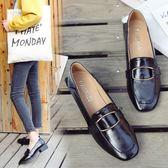 漆皮鞋 粗跟單鞋女中跟復古漆皮方扣小皮鞋工作鞋方頭懶人鞋    琉璃美衣