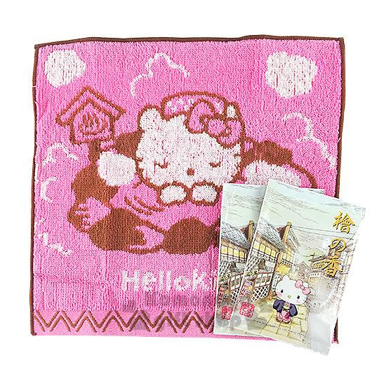〔小禮堂〕Hello Kitty 小方巾《粉.泡溫泉.25x25cm》純棉舒適.附入浴劑 4991567-25830