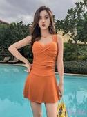 泳裝 泳衣女泡溫泉保守顯瘦遮肚性感韓國2020新款連體裙式大碼平角泳裝一次元
