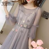 洋裝 春季連身裙新款2020女裝春裝法式復古裙子兩件套山本超仙很仙法國小眾