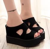 魚口鞋 春夏新款鬆糕底內增高涼鞋厚底超高跟鏤空魚口涼拖鞋女鞋防滑-Ballet朵朵