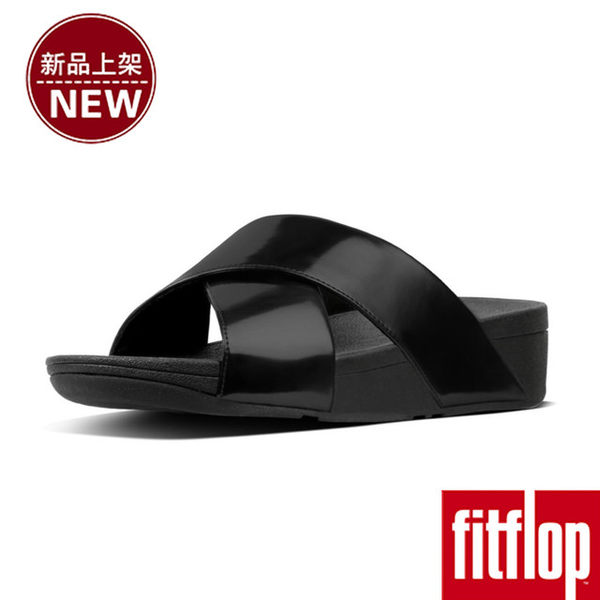 【FitFlop】LULU TM CROSS SLIDE SANDALS - MIRROR(鏡面黑)