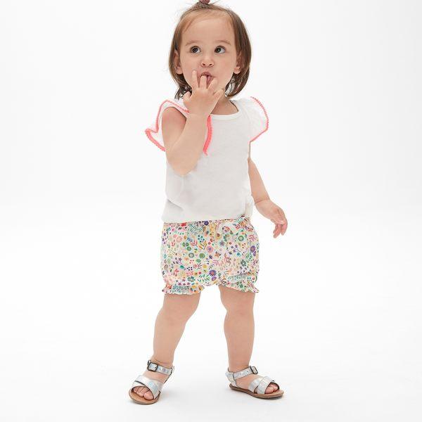 Gap女嬰兒 布萊納小熊刺繡波點鬆緊腰燈籠短褲 441316-彩色花卉印花